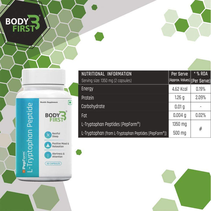 BodyFirst L-Tryptophan Peptide, Essential Amino Acid, 60 Capsules - NutraC - Health & Nutrition Store