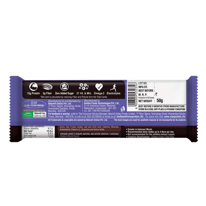 Ritebite Max Protein Daily Choco Almond Bar 50g - NutraC - Health & Nutrition Store