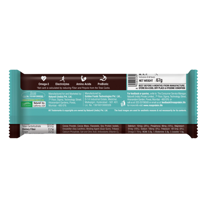 RiteBite Max Protein Active Choco Slim Bars 402g - Pack of 6 (67g x 6) - NutraC - Health & Nutrition Store