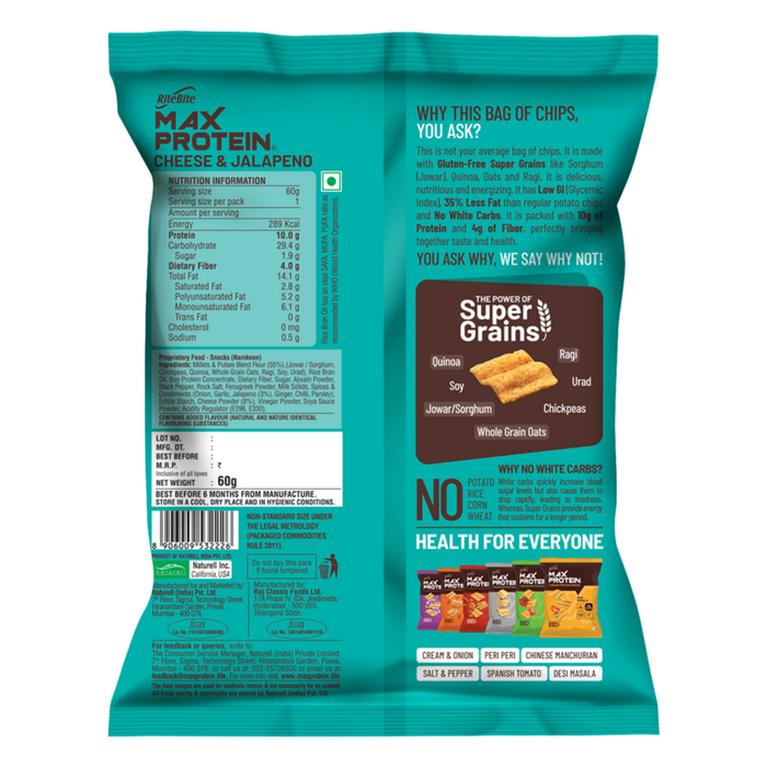 RiteBite Max Protein Chips - Cheese & Jalapeno 60g -Pack of 3 (60g x 3)