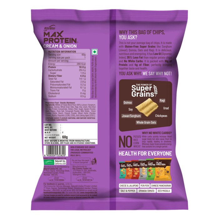 RiteBite Max Protein Chips - Cream & Onion 60g -Pack of 3 (60g x 3) - NutraC - Health & Nutrition Store