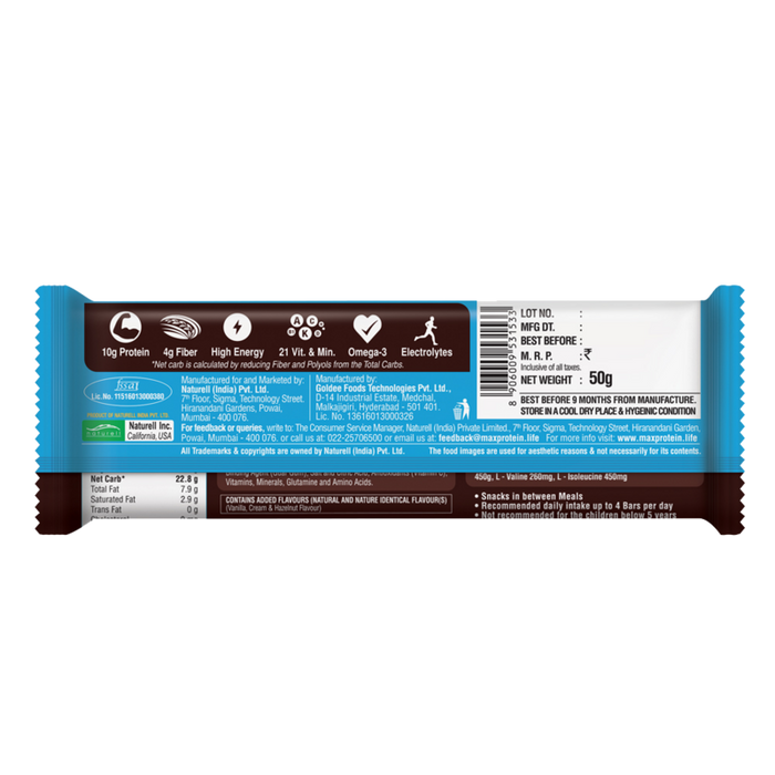 Ritebite Max Protein Daily Choco Classic Bar 50g - NutraC - Health & Nutrition Store
