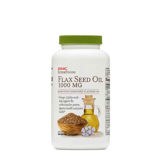 GNC SUPERFOODS FLAX SEED OIL 1000 MG 180 CAPSULES - NutraC - Health & Nutrition Store
