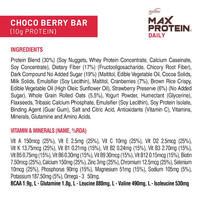 Ritebite Max Protein Daily Choco Berry Bars 300g - Pack of 6 (50g x 6) - NutraC - Health & Nutrition Store