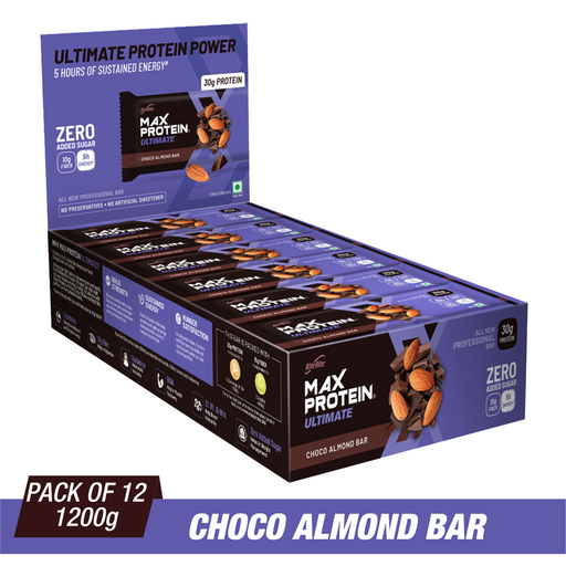 RiteBite Max Protein Ultimate Choco Almond Bars 1200g - Pack of 12 (100g x 12)