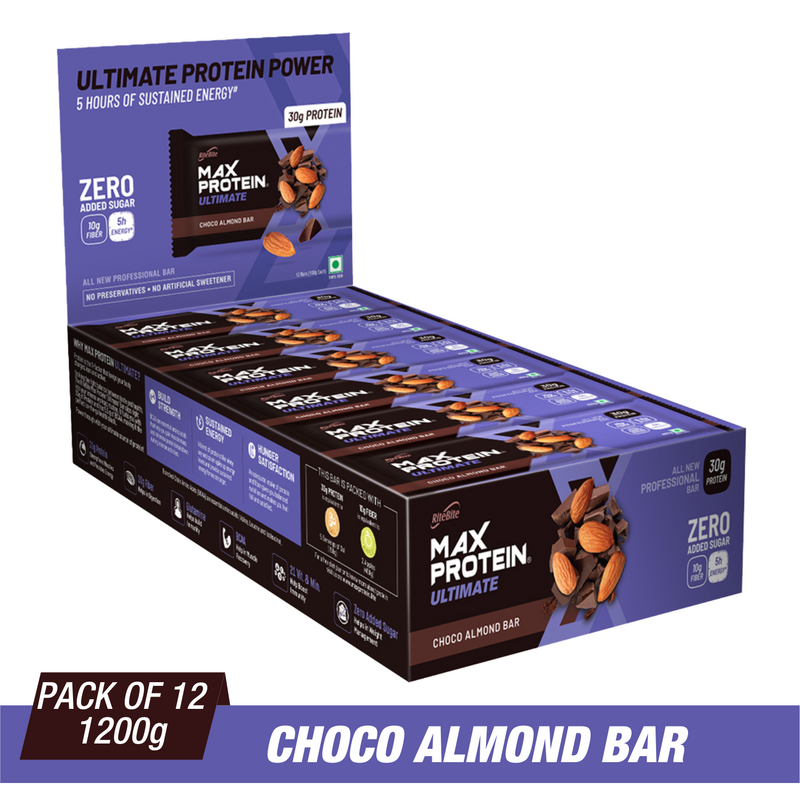 RiteBite Max Protein Ultimate Choco Almond Bars 1200g - Pack of 12 (100g x 12) - NutraC - Health & Nutrition Store