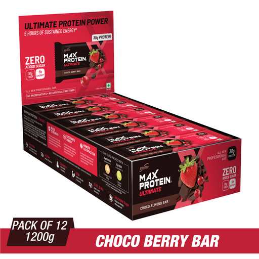 RiteBite Max Protein Ultimate Choco Berry Bars 1200g - Pack of 12 (100g x 12)