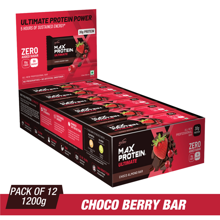 RiteBite Max Protein Ultimate Choco Berry Bars 1200g - Pack of 12 (100g x 12) - NutraC - Health & Nutrition Store