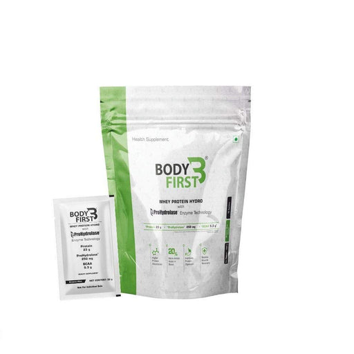 BodyFirst Whey Protein Hydro Powder with Prohydrolase Enzyme Technology , 23 g Protein ( 2.3 lbs) (1.05kg) 32 Servings/Sachets (Brownie Mint Flavour ) - NutraC - Health & Nutrition Store