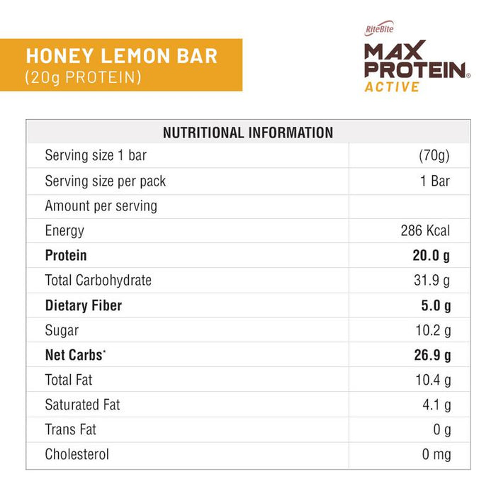 RiteBite Max Protein Active Honey Lemon Bars 840g - Pack of 12 (70g x 12) - NutraC - Health & Nutrition Store