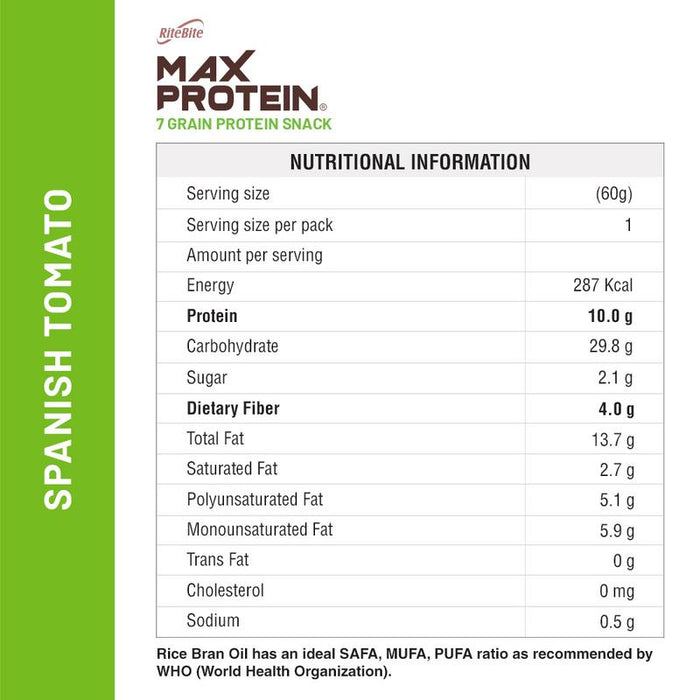 RiteBite Max Protein Chips - Spanish Tomato 60g -Pack of 3 (60g x 3) - NutraC - Health & Nutrition Store