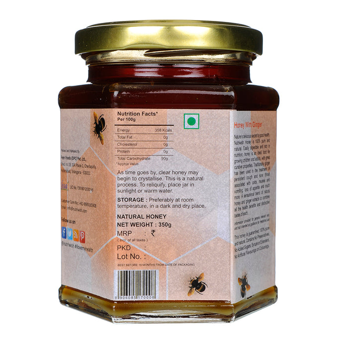NUTRIWISH 100 % Pure Organic Honey - Infused With Ginger