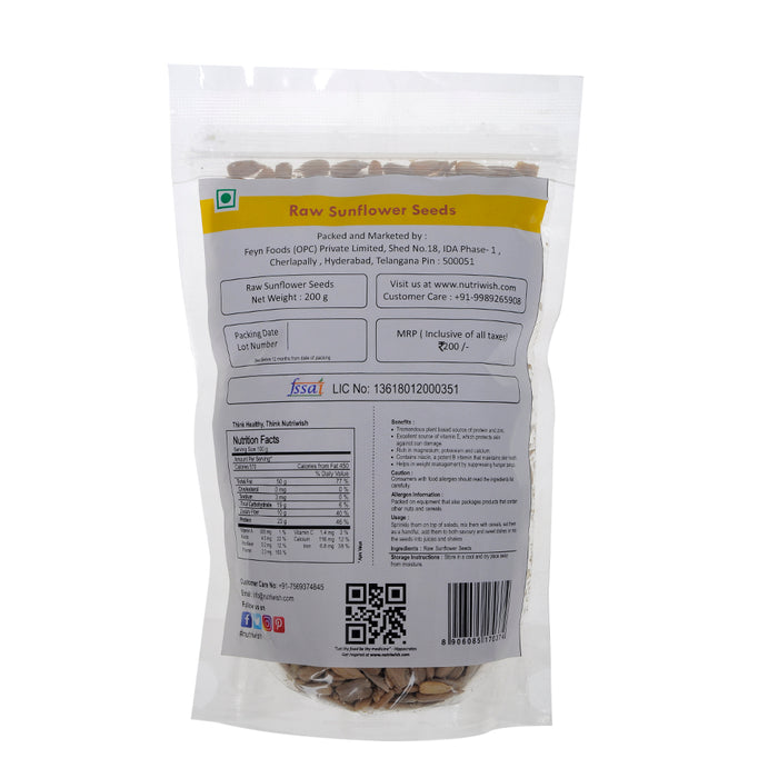 NUTRIWISH Sunflower Seeds - Premium Raw - NutraC - Health & Nutrition Store