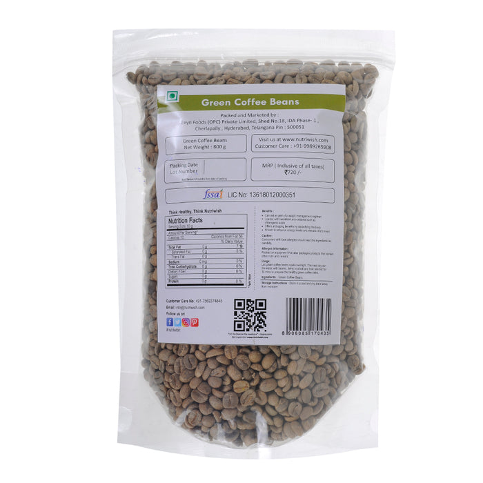 Nutriwish Green Coffee Beans 800g - NutraC - Health & Nutrition Store