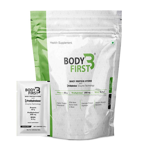 BodyFirst Whey Protein Hydro Powder with Prohydrolase Enzyme Technology , 23 g Protein ( 4.94 lbs) (2.24kg) 70 Servings/Sachets (Brownie Mint Flavour ) - NutraC - Health & Nutrition Store