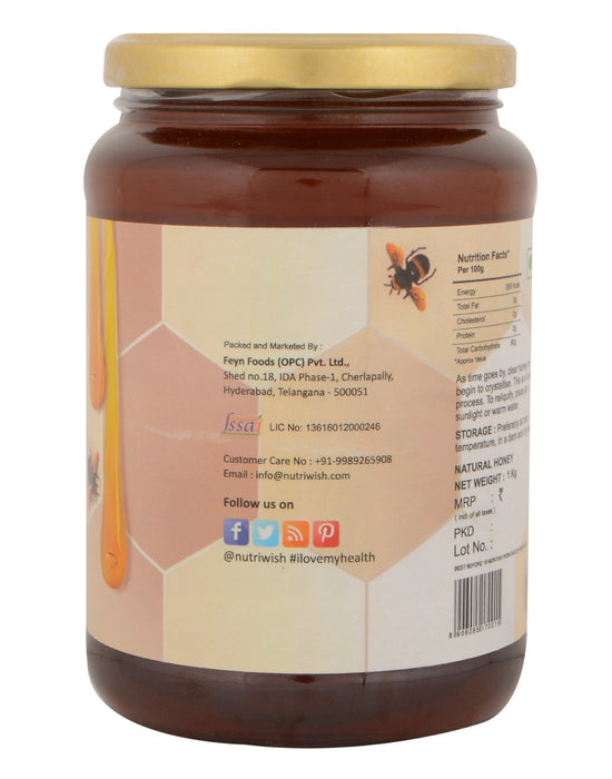 Nutriwish Honey with Cinnamon - 100 % Pure  Honey Infused With Cinnamon 1kg - NutraC - Health & Nutrition Store