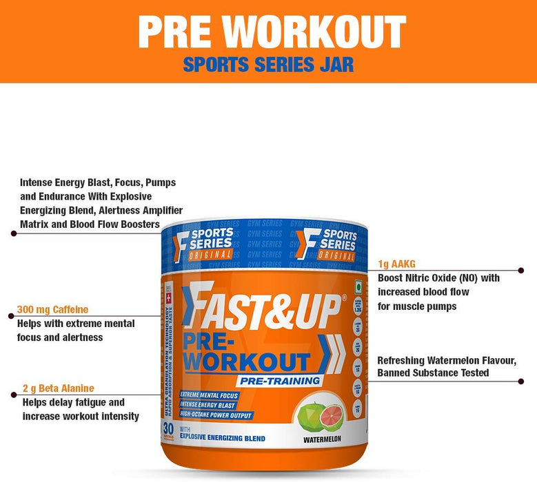 Fast&Up Pre Workout Supplement - Sports training - Energy and Power Performance - Caffeine - 30 Servings - Watermelon - NutraC - Health & Nutrition Store