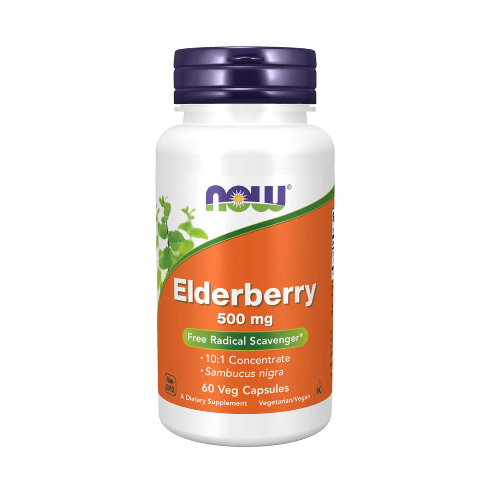 NOW Foods Elderberry 500 mg - 60 Vcaps - NutraC - Health & Nutrition Store