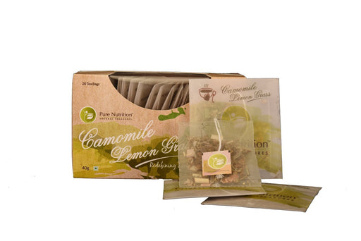 Pure Nutrition Camomile Lemon Grass - Herbal Tea for Stress Relief - 20 Tea Bags