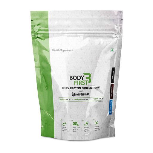 BodyFirst Whey Protein Concentrate Powder with Prohydrolase Enzyme Technology , 23 g Protein ( 2.3 lbs) (1.05kg) 32 Servings/Sachets (Milk Chocolate Flavour ) - NutraC - Health & Nutrition Store