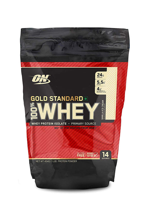 Optimum Nutrition (ON) Gold Standard 100% Whey Protein Powder - 1 lb (Vanilla Ice Cream) - NutraC - Health & Nutrition Store