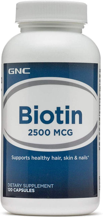 GNC Biotin 2500MCG Supports Healthy Hair, Skin & Nails (120 Capsules)