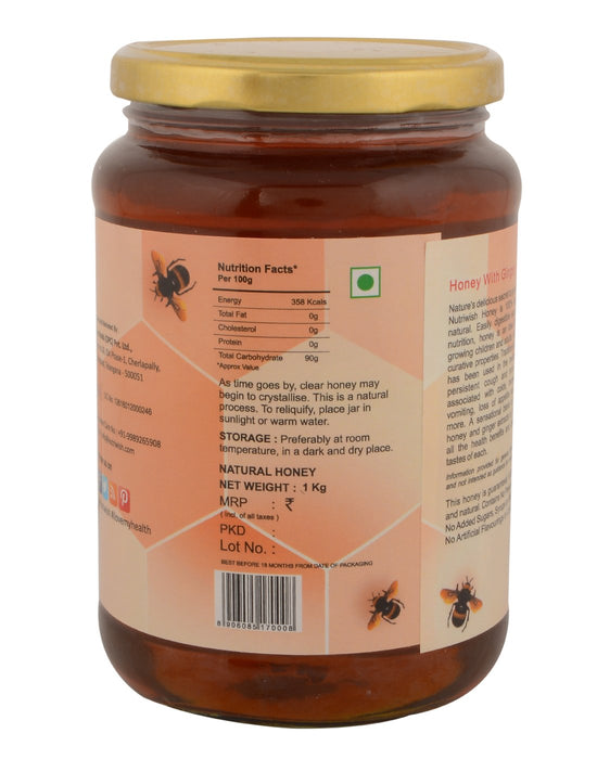 Nutriwish Honey with Ginger - 100 % Pure  Honey Infused With Ginger 1kg