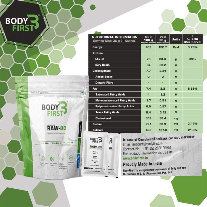 BodyFirst Raw-80 Whey Protein Concentrate 80 %,Unflavoured, 32 sachets/servings, 960 gram - NutraC - Health & Nutrition Store