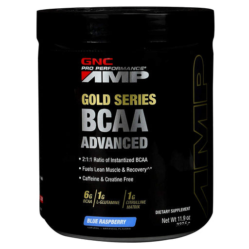 GNC AMP Gold Series BCAA Advanced Blue Rasp (337.5gm) - NutraC - Health & Nutrition Store