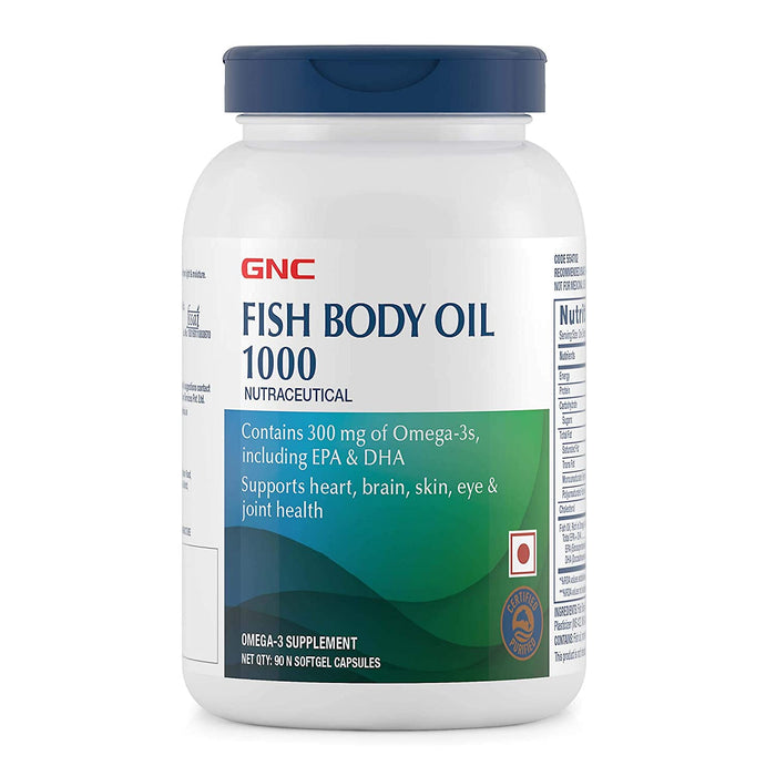GNC Fish Body Oil Cap 1000 mg - Omega-3 Supplement (90 Softgel Capsules) - NutraC - Health & Nutrition Store