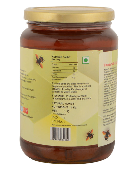 Nutriwish Honey with Litchi - 100 % Pure  Honey Infused With Litchi 1kg - NutraC - Health & Nutrition Store