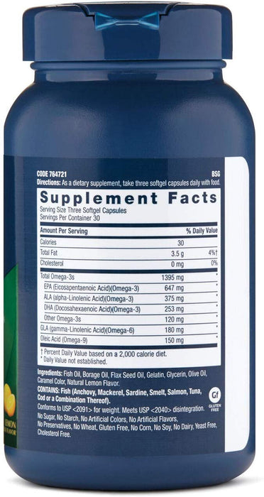 GNC Triple Strength Omega Complex Heart, Brain, Skin, Eye & Joint Health (Lemon Flavor) (90 Softgels)