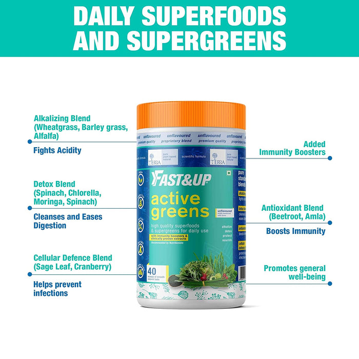 Fast&Up Active Greens - Plant-Based Superfood - Detox - Immunity - Digestion - Antioxidants - Vitamins and Minerals - 40 servings - Unflavored and Unsweetened - NutraC - Health & Nutrition Store