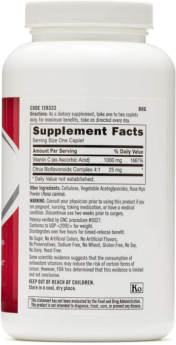 GNC Vitamin C 1000Mg A Protective Antioxidant that Provides Immune Support (180 Caplets)