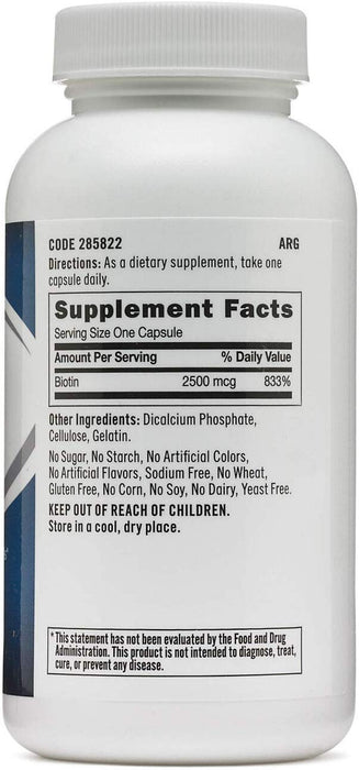 GNC Biotin 2500MCG Supports Healthy Hair, Skin & Nails (120 Capsules) - NutraC - Health & Nutrition Store