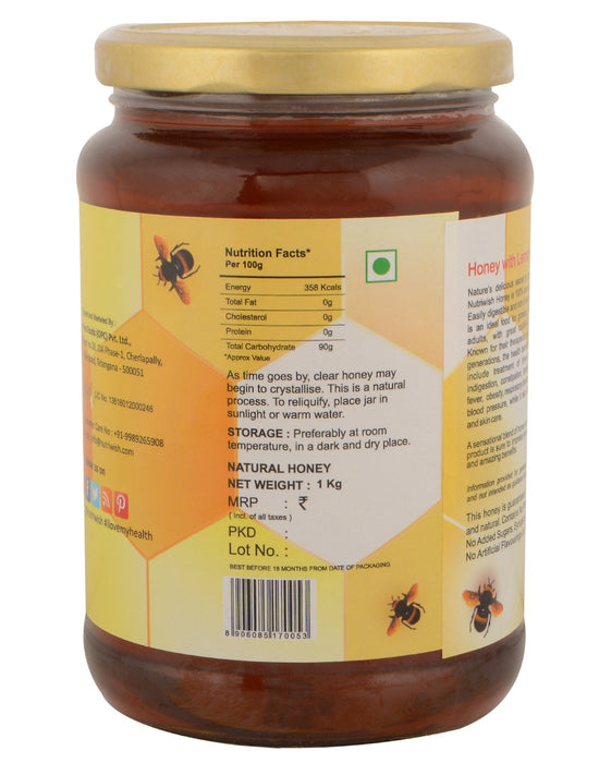 Nutriwish Honey with Lemon - 100 % Pure  Honey Infused With Lemon 1kg - NutraC - Health & Nutrition Store