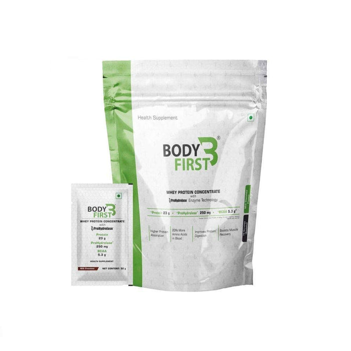 BodyFirst Whey Protein Concentrate Powder with Prohydrolase Enzyme Technology , 23 g Protein ( 4.94 lbs) (2.24kg) 70 Servings/Sachets (Milk Chocolate Flavour ) - NutraC - Health & Nutrition Store