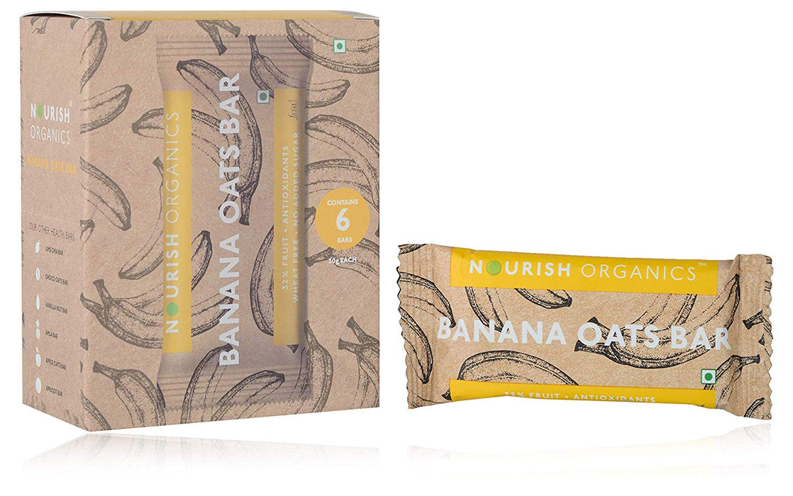 Nourish Organics Banana Oats Bar - Pack of 6 (30g x 6) - NutraC - Health & Nutrition Store