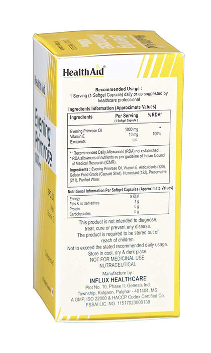 HealthAid Evening Primrose Oil 1000mg With Vitamin E -60 Capsules - NutraC - Health & Nutrition Store
