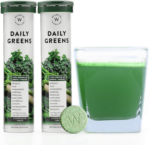Wellbeing Nutrition Daily Greens Wholefood Natural Multivitamin with Organic Plant Superfood and Antioxidants Supplements (15 Effervescent Tablets)
