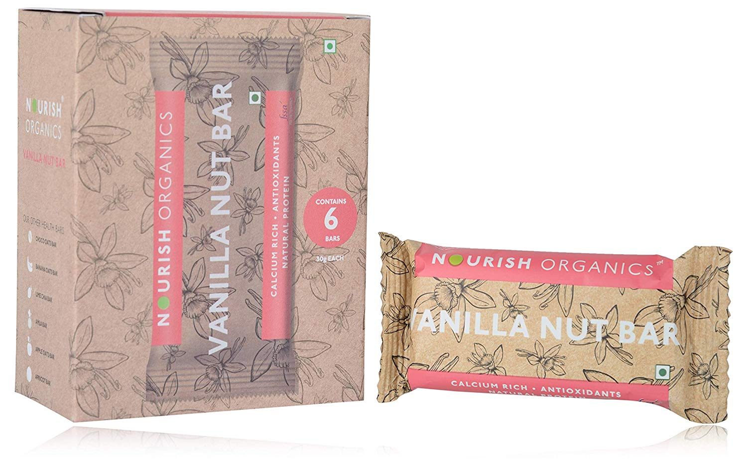 Nourish Organics Vanilla Nut Bar - Pack of 6 (30g x 6) - NutraC - Health & Nutrition Store