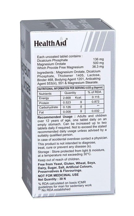 HealthAid Magnesium Orotate 500mg -30 Tablets - NutraC - Health & Nutrition Store