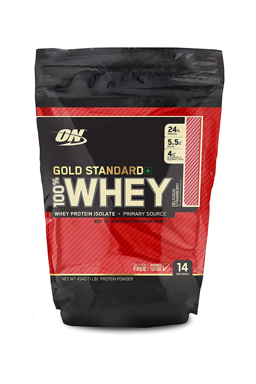 Optimum Nutrition (ON) Gold Standard 100% Whey Protein Powder - 1 lb (Delicious Strawberry) - NutraC - Health & Nutrition Store