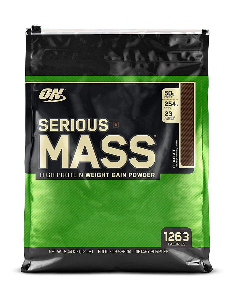 Optimum Nutrition (ON) Serious Mass Weight Gainer Powder - 12 lbs, 5.44 kg (Chocolate) - NutraC - Health & Nutrition Store