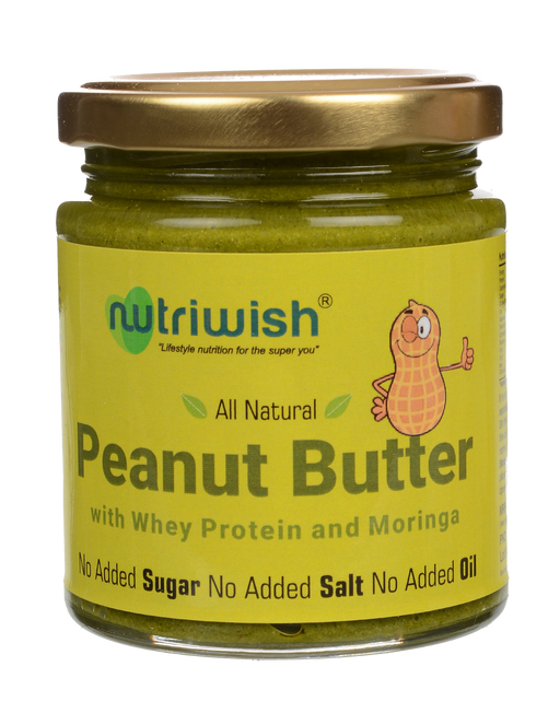 Nutriwish Peanut Butter with whey protein and moringa 200g - NutraC - Health & Nutrition Store
