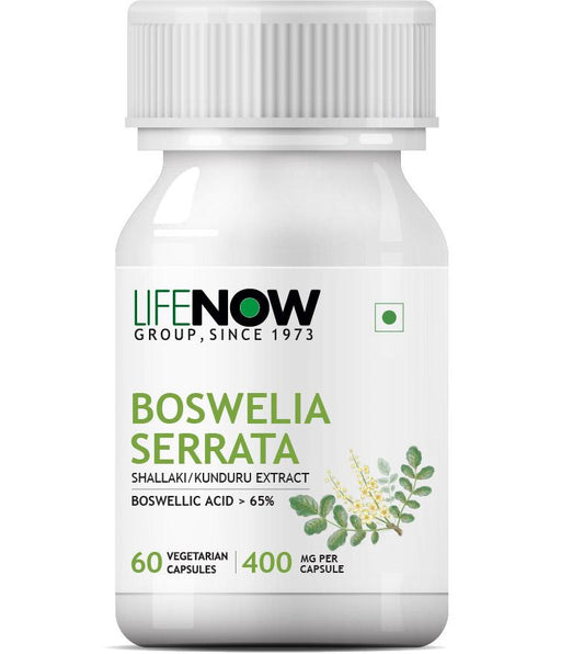 Lifenow Boswellia Serrata Extract (Boswellic Acids > 65%) Joint Supplement, 400 mg - 60 Vegetarian Capsules (Pack of 1)