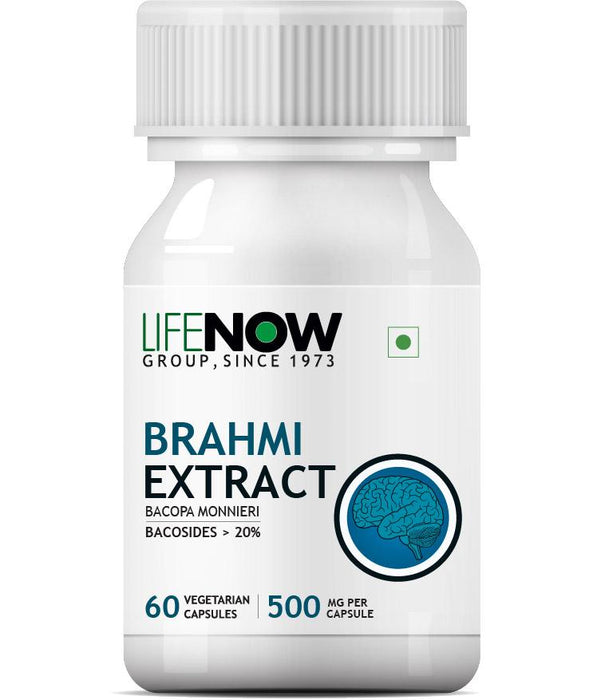 Lifenow Brahmi/Bacopa Monnieri Extract (Bacosides > 25%) Supplement, 500 mg – 60 Vegetarian Capsules (Pack of 1) - NutraC - Health & Nutrition Store
