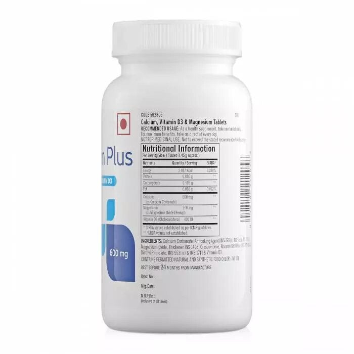 GNC Calcium Plus 600 mg with Magnesium and Vitamin D3 - 180 Tablets - NutraC - Health & Nutrition Store