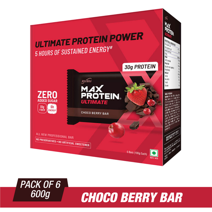 RiteBite Max Protein Ultimate Choco Berry Bars 600g - Pack of 6 (100g X 6) - NutraC - Health & Nutrition Store