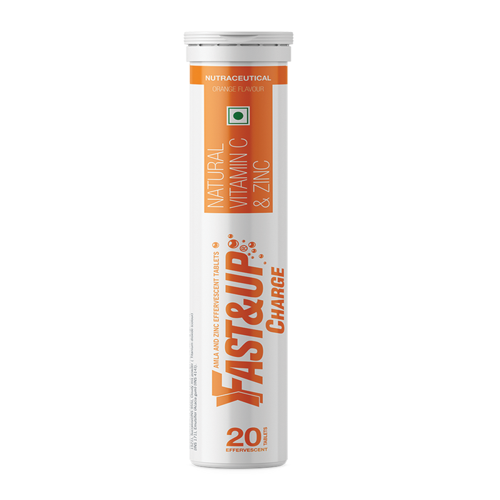 Fast&Up Charge with Natural Vitamin C and Zinc for Immunity - 60 Effervescent Tablets - Orange Flavour
